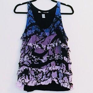 DVF Violet Ombré Splatter Silk Top
